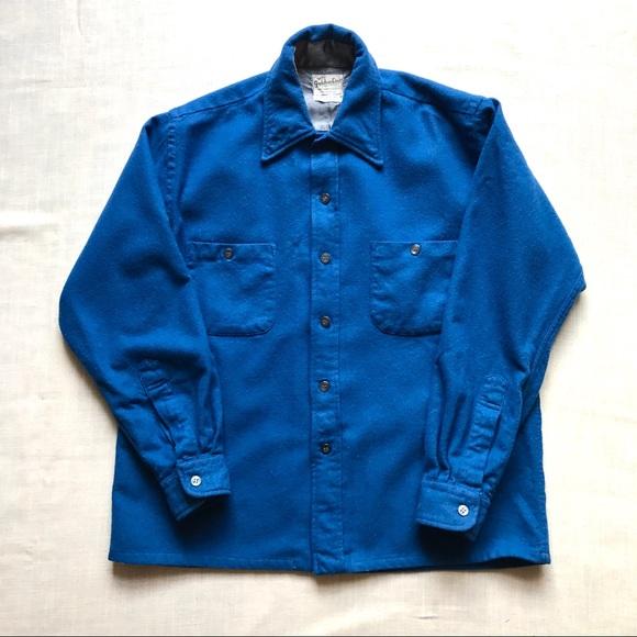 Golden Line Other - Vintage blue woolen button down shirt.